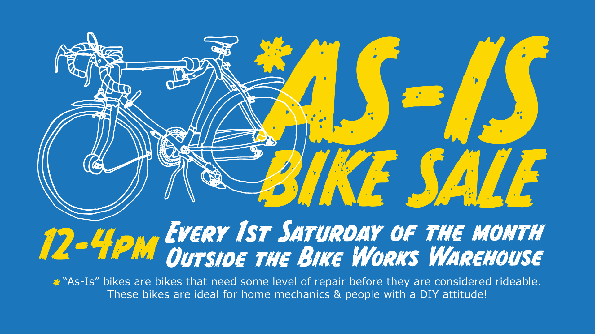 """As-Is"" Bike Sale @ Bike Works Warehouse"