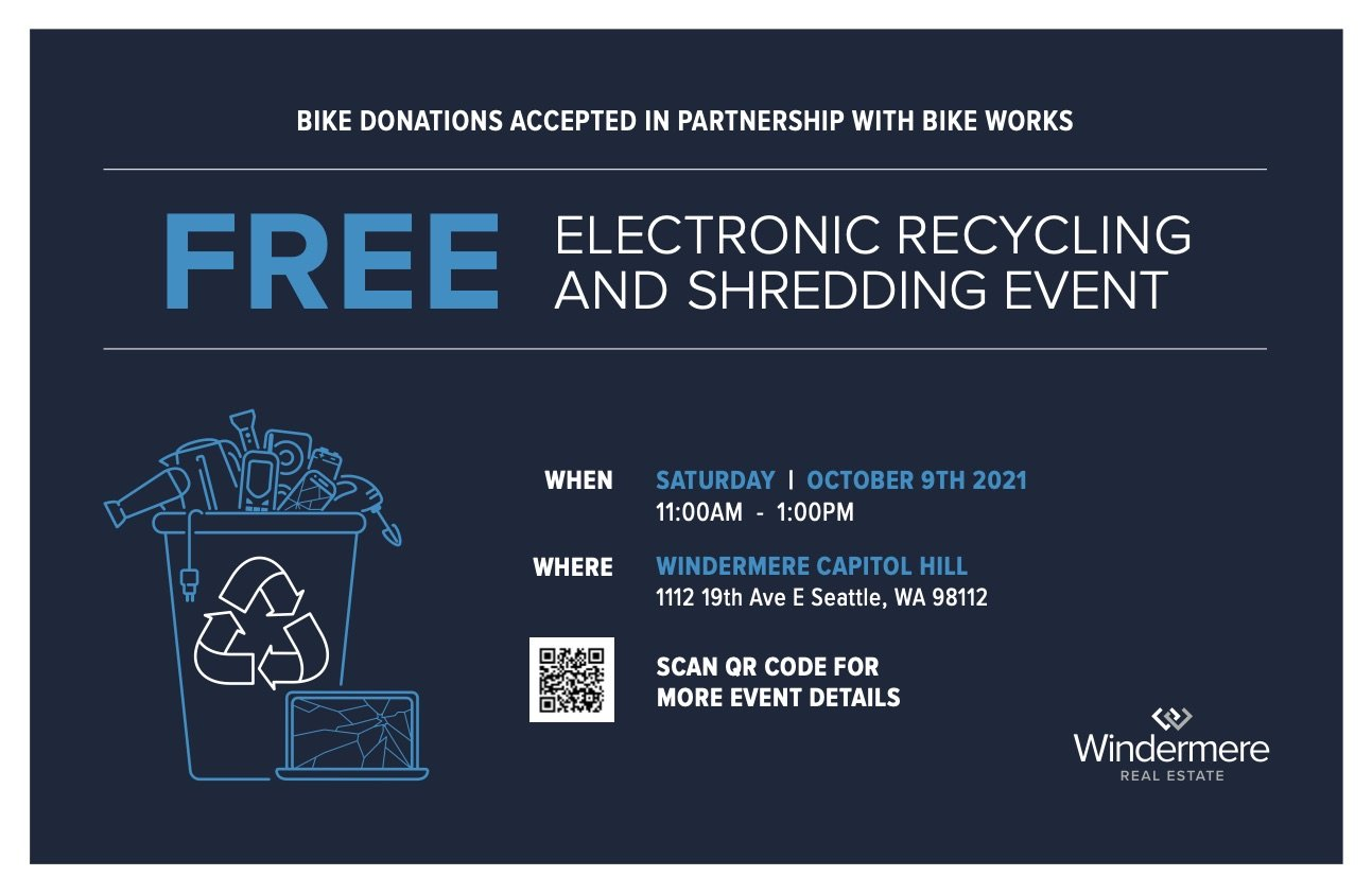 FREE Electronic Recycling, Paper Shredding, & Bike Donation Event @ Windermere Capitol Hill